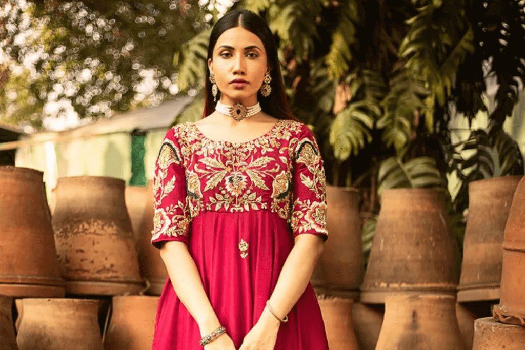 Traditional Red Designer Bridal Frocks by Pakistani Designer