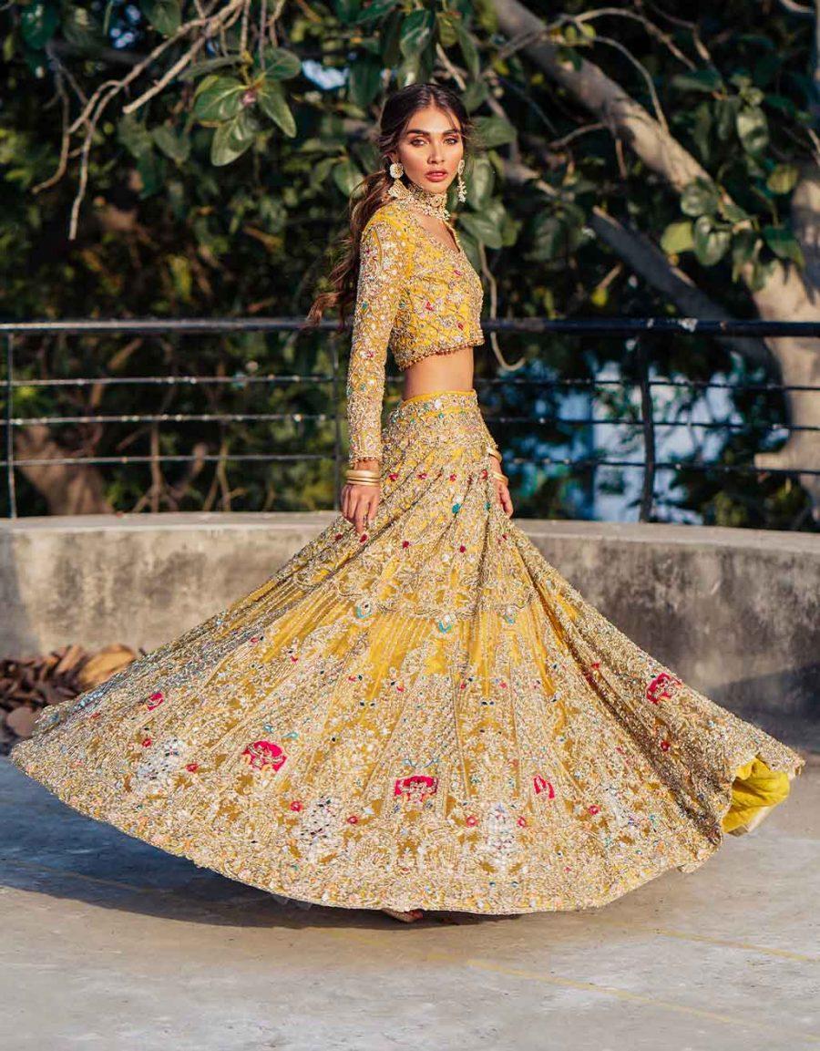 yellow mehndi bridal